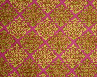 michael miller summer soiree by paula prass hot pink lim e green cotton quilting fabric destash fabric by the yard