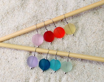 Sea Glass Knitting Stitch Markers - snag free - create your own set - 12mm assorted colors sold individually in three loop sizes