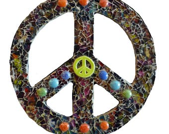 Mosaic Peace Sign, Boho Decor, Retro Wall Hanging Made with Tempered Glass Ready to Ship