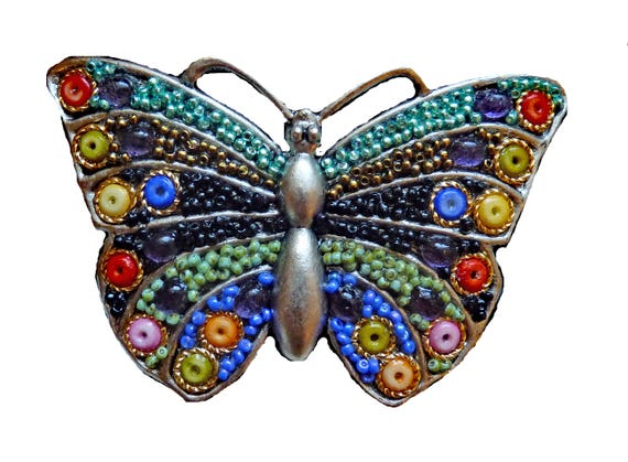 Butterfly Beaded Belt Buckle
