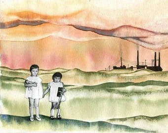 Vintage CHILDREN Original Watercolor and Collage Art Print industrial landscape futuristic environmental air pollution save earth wall decor