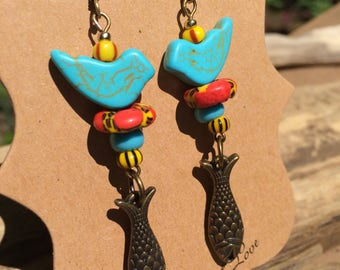 turquoise bird earrings fish earrings summer earrings boho earrings southwestern earrings gift for bird watcher summer jewelry gift for her