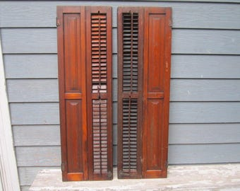 """Antique Circa 1880 Set of Louvered 46"""" Wood Shutters Lot No.1"""