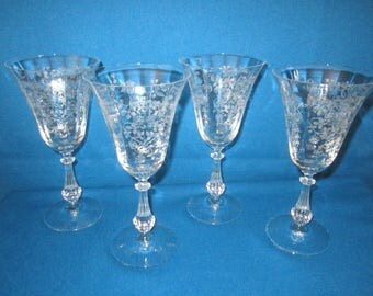 Vintage Lot of 4 Exquisite Etched FOSTORIA ARCADY Crystal Stemware Wine Glasses Water Goblets