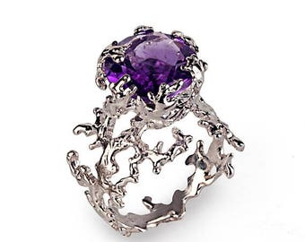 SALE 20% Off - CORAL Amethyst Engagement Ring, Gold Amethyst Ring, 14k White Gold Ring, Unique Amethyst Ring, Large Amethyst Ring, Gold Stat