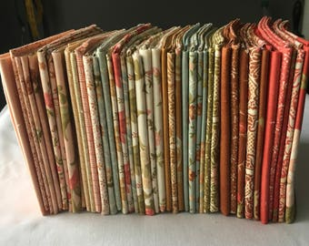 RARE Allspice Tapestry Out of Print Fig Tree Quilts Fat Quarter Bundle Florals Red Brown Blue Quilting Sewing Country piecesofpine