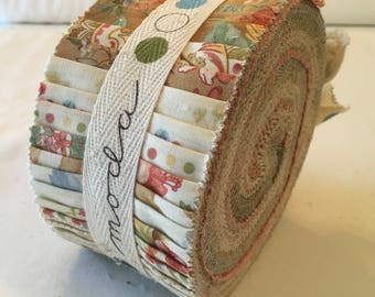 RARE Nostalgia April Cornell Jelly Roll Out of Print Fabric Strips Quilting Romantic Florals Salmon Green Blue Tan piecesofpine