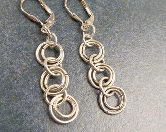 Circles Dangle Earrings, Sterling Silver