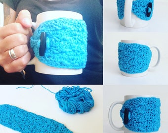Cotton Coffee Mug Cozy in Turquoise, MADE TO ORDER.