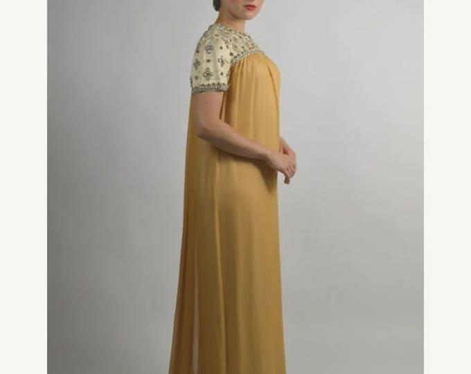 sale Empire Waist Dress, Gold Dress, Long Dress, Evening Dress, Vintage Dress, Prom Dress, Formal Dress, Audrey Hepburn Style, Jane Austen D
