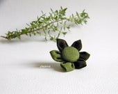 Men lapel pin. Flower boutonniere. Lapel stick pin. Moss green and olive green. Flower buttonhole
