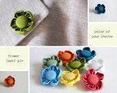 Men lapel flower. Fabric lapel pin, Custom boutonniere. Men accessories.  Cotton. 31 colors available.