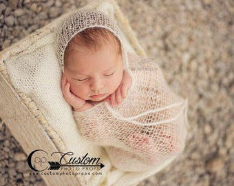 Mohair Hat AND/OR Wrap Newborn Photo Props, IVORY Mohair Baby Girl Bonnet Photography Prop, Knit Mohair Wrap, Layering Photography Props