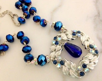 "Handmade Artisan One of Kind Vintage Silver Royal Blue Pendant Necklace 20"""