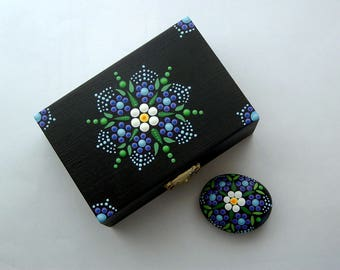 Gift box set-mandala stone-black box-blue flower mandala-ooak 3D art object-jewelry storage-stash keepsakes collectible-pointillism dot art