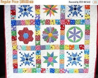 Summer Sale Baby Patchwork Quilt Retro  Quilted Wall Hanging  Thirties baby quilt  stroller blanket Crib Quiltsy handmade