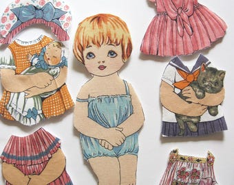 Fabric paper doll child travel toy church toy rare fabric Diane