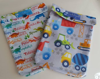 Boys Ouch Pouch 2 Pack First Aid Organizer for Diaper Bag Car Purse Backpack Travel Medium 5x7 Your Choice Fabrics/Label/Clip