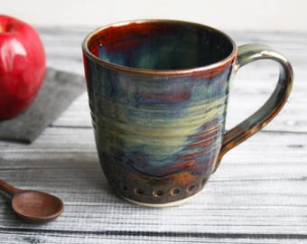 Extra Large 17 oz. Stoneware Mug with Dripping Rich Brown and Sage Green Glazes Handmade Stoneware Coffee Cup Made in USA Ready to Ship