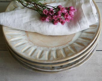 RESERVED for Traci - Rustic Dinnerware Set of 4 Side Plates in Creamy White Glaze Handcrafted Carved Dishes Made in USA
