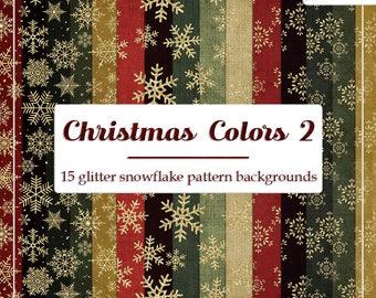 DECEMBER SALE - CU4CU Digital Papers | Christmas Colors 2 Glitter Snowflake Pattern Papers | Digital Designer Tool