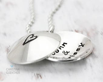 Love is Within   Personalized Hand Stamped Jewelry   Heart Locket Necklace   Name Jewelry   Girlfriend Fiance Wife Love   Christina Guenther