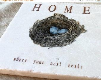 XMASINJULYSale Robin's Egg Nest Kitchen Tile Trivet
