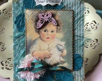 Welcome New Baby Girl Card - Handmade Card - Princess Card