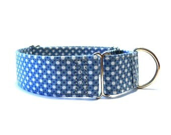 Available in any pattern from our shop - Martingale dog collar - Blue&white polka dots dog collar - Teenager Liebe martingale dog collar