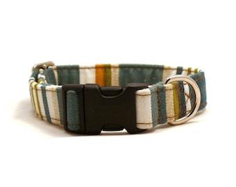 Green striped dog collar - Hammock pet collar - UV resistant dog collar - Green striped adjustable dog collar - Hammock collar