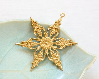 As-Is sale 2 large, gold SNOWFLAKE craft embellishment charm. 2 inches (FFx5)