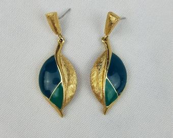 Vintage Trifari green enamel gold tone drop stud back earrings