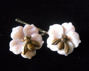 Bumble Bee Bobby Pins Pastel Purple Wedding Hair Jewelry Sale Natural Elegant Mother of Pearl Flowers