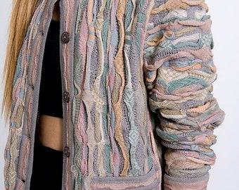 40% OFF The Vintage Pastel Textured Stripe Sweater Cardigan