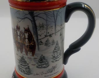 Budweiser Christmas Stein - Beer Stein -1991 Collectors Series - Made in Brazil - Excellent condition