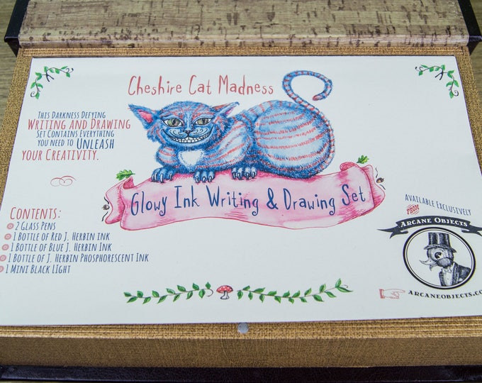 Featured listing image: Cheshire Cat Madness Glowy Ink Writing & Drawing Set - Phosphorescent Ink