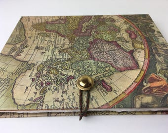 World map journal etsy photo album journal hand bound album with acid free pages and pocket gumiabroncs Gallery