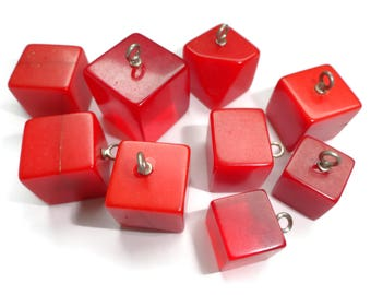 Vintage Bakelite Buttons Beads - 9 Antique Cherry Red 1940s Game Cubes for Sewing Knitting Jewelry Supplies Beading