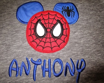 Mickey Mouse Spiderman Applique Shirt