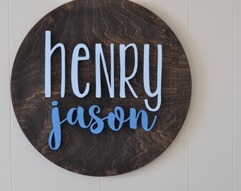 "18"" Round Sign Personalized Name, Custom Nursery Decor -  Painted, Wall Decor, Baby Shower, Gift, Nursery Art, Bedroom Sign"