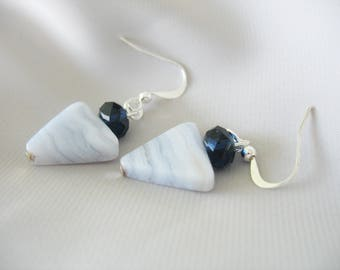 Marble Triangle Earrings, Natural Stone, Agate, Blue, Swarovski Accent, Dangle Drop Earrings, Sapphire Blue, White