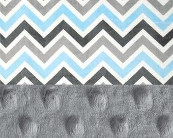 SALE Blue Gray Chevron Minky Baby Blanket,  Personalized Baby Blanket // Chevron Baby Blanket // Boy Baby Blanket // Baby Shower Gift