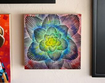 Abstract Lotus Mandala Painting, Original Brush and Ink Drawing by Teddy Pancake, Visionary Mantra Art, Contemporary Art #33