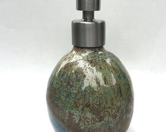 Ceramic Soap Dispenser Lotion Dispenser-  Green and Satellite like glazeOverlap IN Stock - Ready to Ship