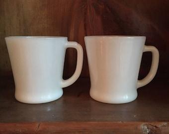 Vintage Fire King White Milk Glass Mug Set 2