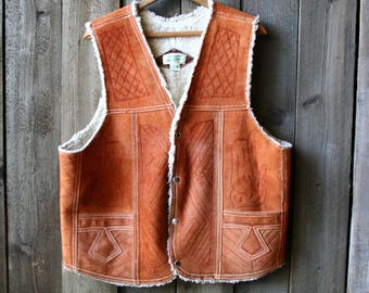 Tooled Leather Vest Horse and Feather Tooled Western Vest Vintage From Nowvintage on Etsy