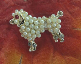 Vintage Poodle Pin/Brooch, Poodle Scatter Pin, Pearl Poodle Pin