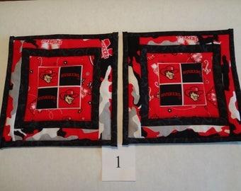 Nebraska Cornhuskers- quilted potholders- pair #1