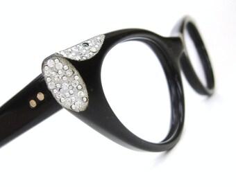 Vintage Rhinestone Cat eye Glasses Eyeglasses Frame