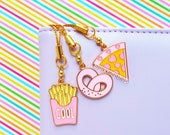 1pc Charm For Planners Cell Phones Tamagotchi Charms Pink Gold Junk Food Pizza Fries Pretzel - Choose Charm